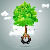 Tree on power button — Stock Photo