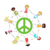 Peace sign with kids — Stock Photo