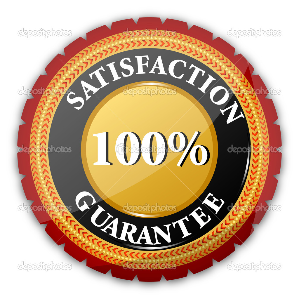 Illustration of 100% satisfaction  guaranteed logo on white background — Stock Photo #4522964