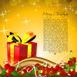 Abstract merry christmas card with gifts — Stock Photo