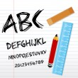 Stock Photo: Alphabetical texts with pencil, ruler and book