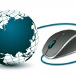 Computer mouse with globe — Stock Photo #4541323