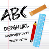 Alphabetical texts with pencil, ruler and book — Stock Photo