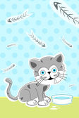 Cat with fish bones — Stock Photo