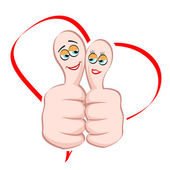 Male and female icon on thumb — Stock Photo