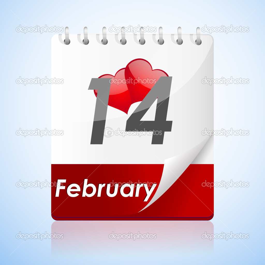 Illustration of valentine card  with calender on white background — Stock Photo #4563397