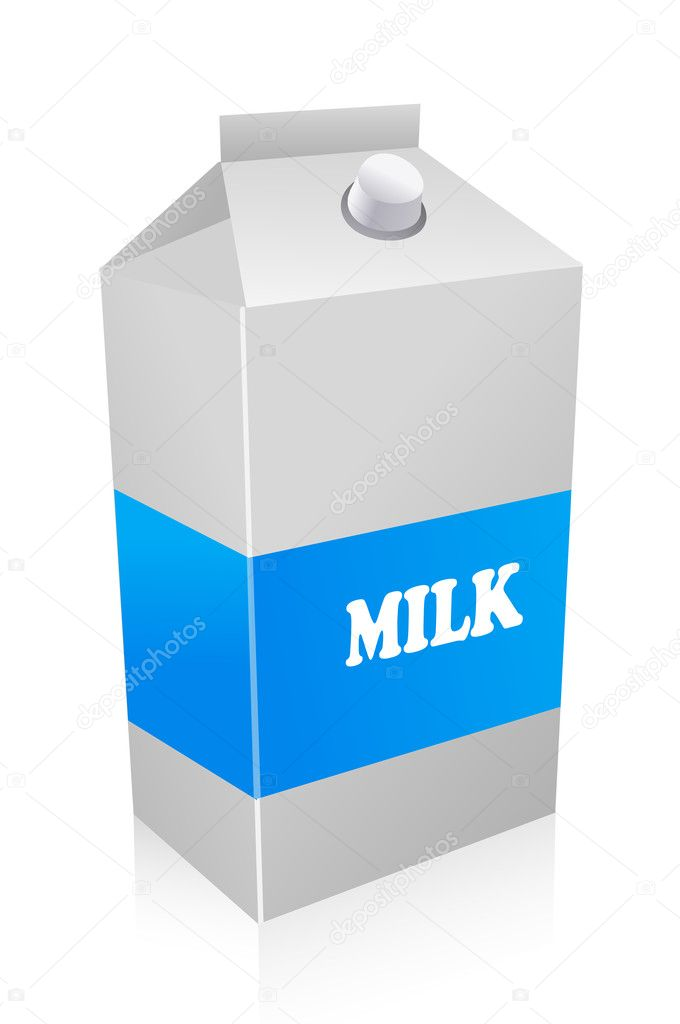 Illustration of milk carton on white background — Stock Photo #4563509