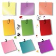 Colorful papers with pin — Stock Photo
