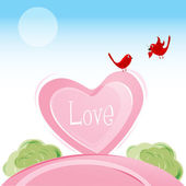 Love birds in valentine card — Stock Photo