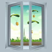 Open window with dollar parachute — Stock Photo