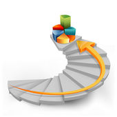 Pie chart in steps with arrow — Stock Photo