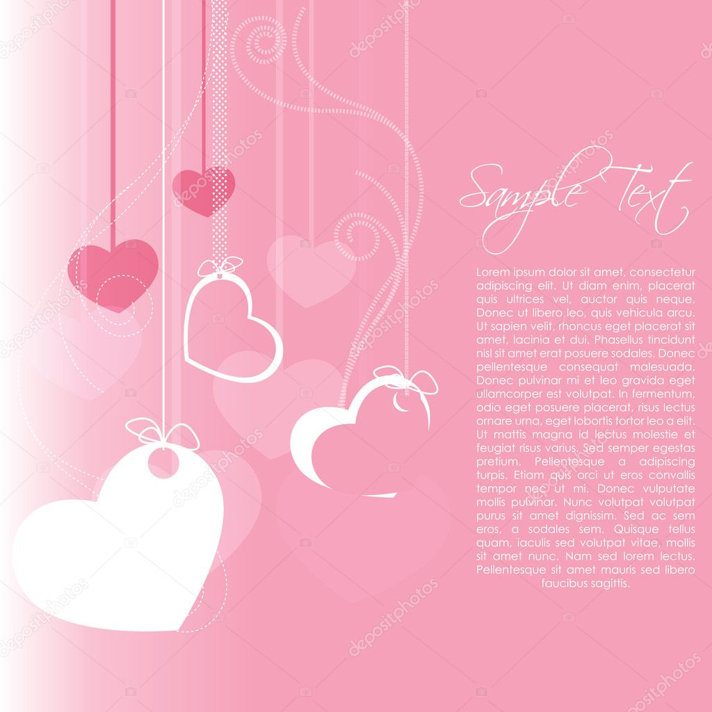 Illustration of valentine card with  hanging hearts — Foto de Stock   #4583829