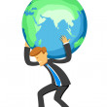 Businessman with globe — Stock Photo