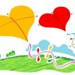 Heart shape kites — Stock Photo