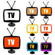 colorful tv with antenna — Stock Photo
