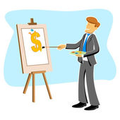 Businessman with dollar drawing — Stock Photo