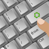 Recycle button in key board — Stock Photo