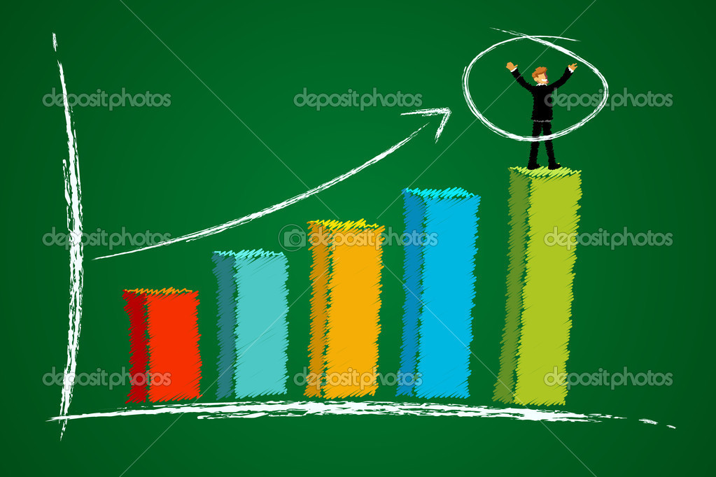Illustration of growth graph with businessman with abstract background  Stock Photo #4607545
