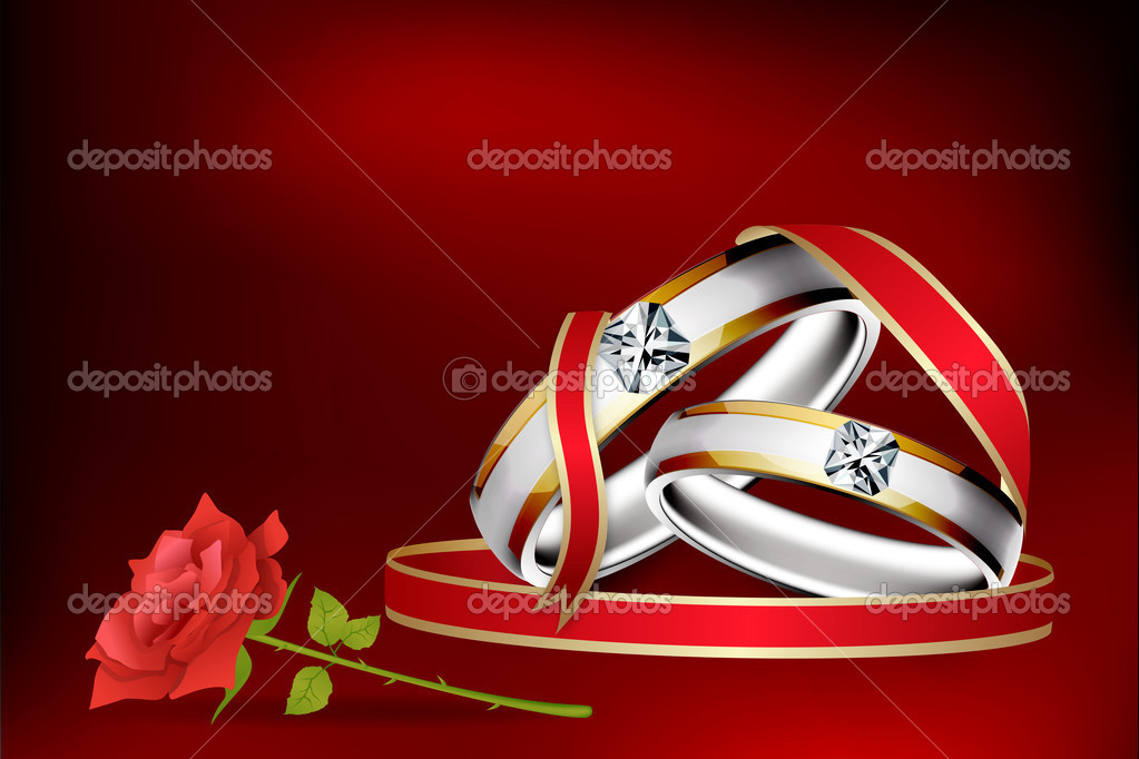 Illustration of engagement ring with rose flower with abstract background — Foto de Stock   #4607599