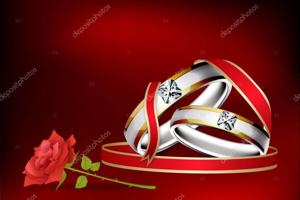 Illustration of engagement ring with rose flower with abstract background    #4607599