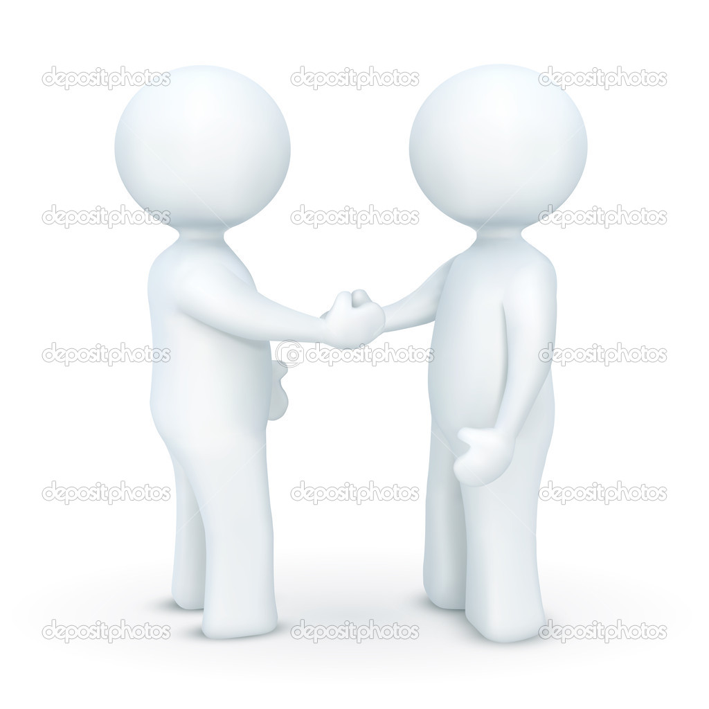 Illustration of 3d character hand shaking on an isolated white background — Stock Photo #4610283