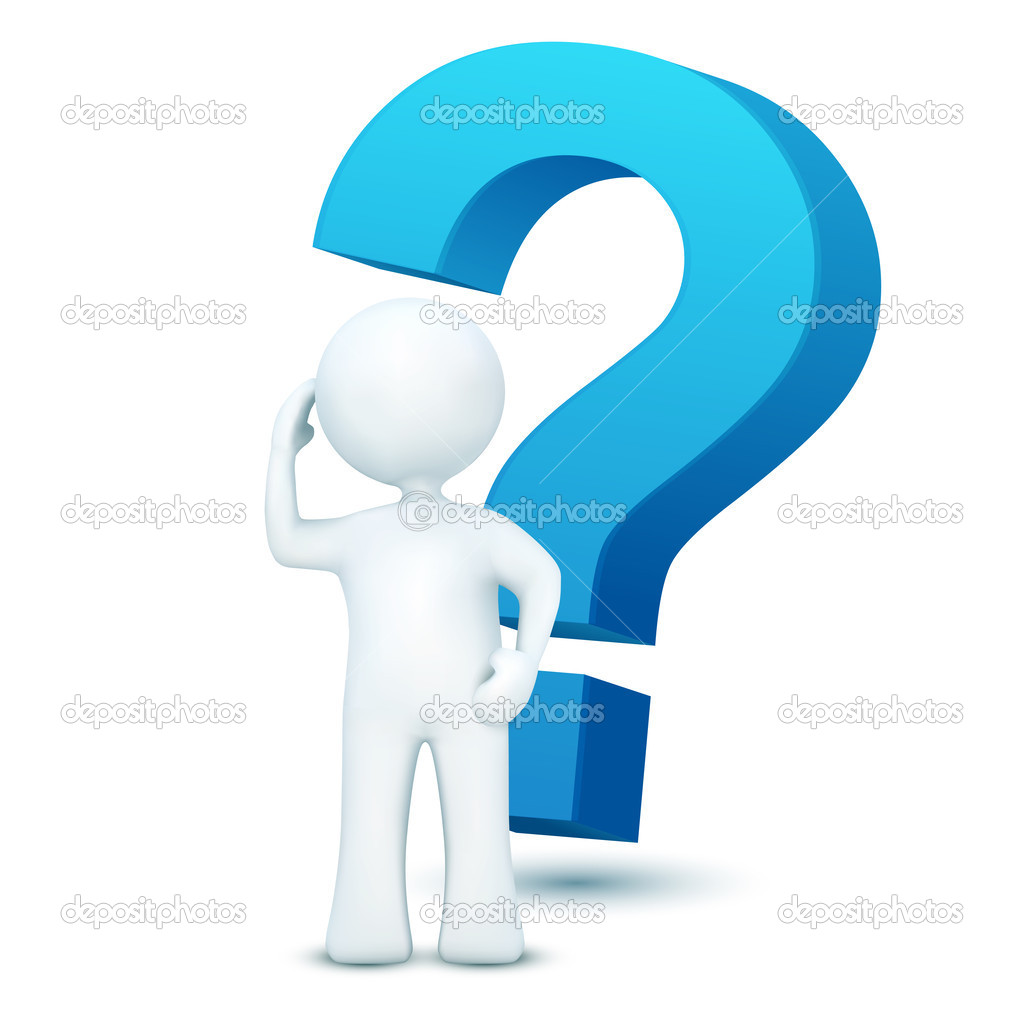 Illustration of 3d character with question mark on an isolated white background — Stock Photo #4610285