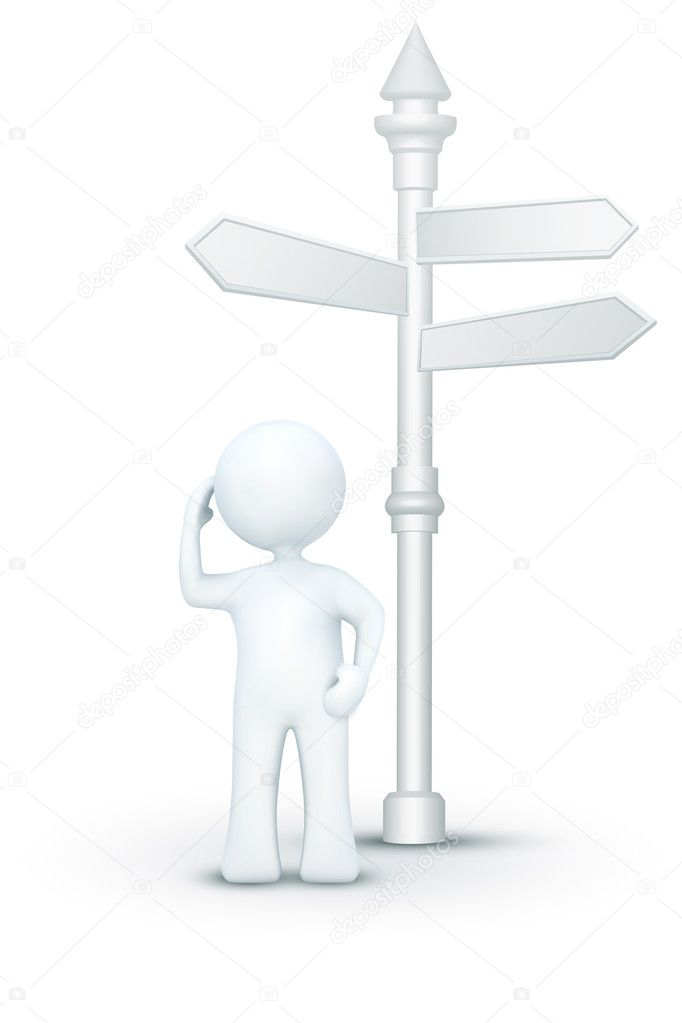 Illustration of confused 3d character standing under direction board on an isolated white background  Foto de Stock   #4610295