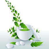 Medicine with leaves — Stock Photo