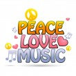 Peace love music - Stock Photo