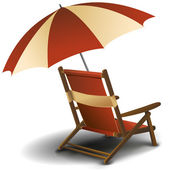 Beach chair with umbrella — Stock Photo