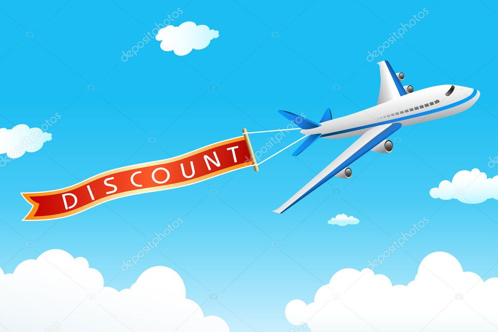 Illustration of discount tag with plane in sky — Stock Photo #5044224