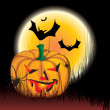 Illustration of an evil pumpkin on the grave with bats and with spider - 
