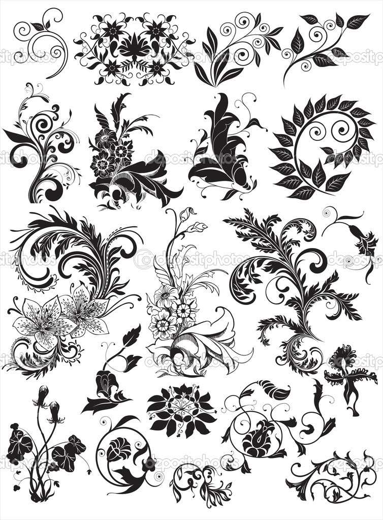 Floral elements for design   Stockvectorbeeld #3396182