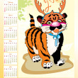 Royalty-Free Stock Vector Image: Calendar 2010 with tiger