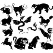Chinese zodiac symbols - Image vectorielle