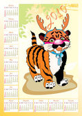 Calendar 2010 with tiger — Stock Vector