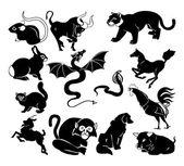 Chinese zodiac symbols — Stock Vector