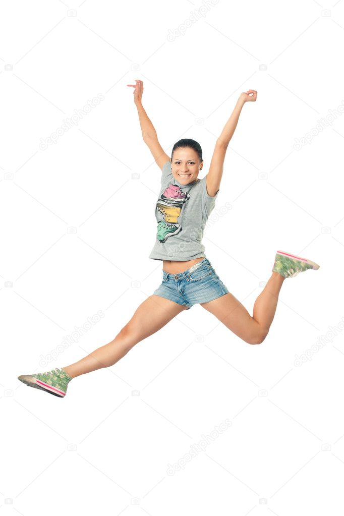 Women smiles happily bouncing with happiness waving  Stock Photo #3276861