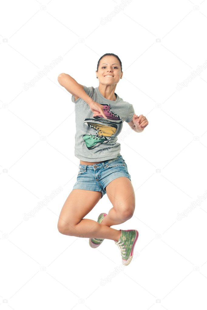 Women smiles happily bouncing with happiness waving — Stock Photo #3276871