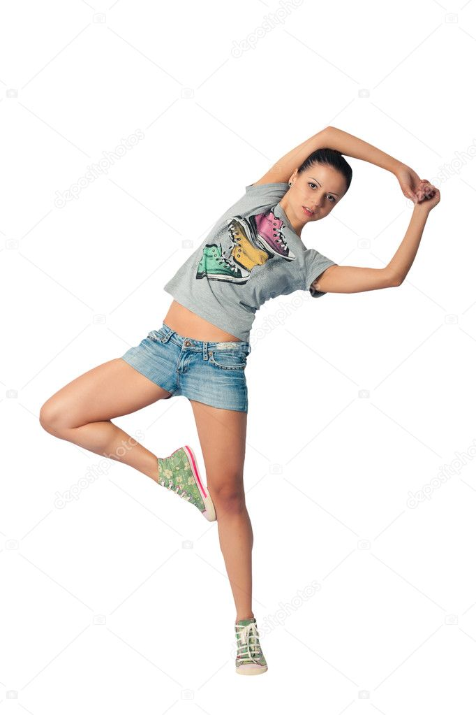 Funny girl waving his arms and legs doing gymnastics — Stock Photo #3276877
