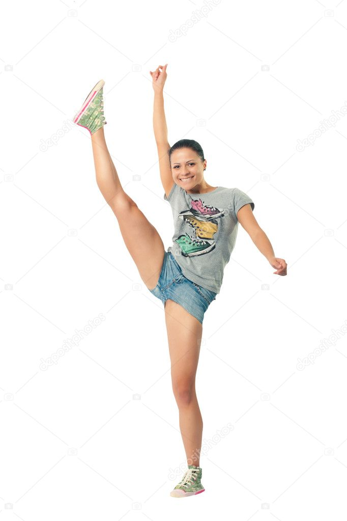 Funny girl waving his arms and legs doing gymnastics — Stock Photo #3276883