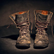 Old worn soldiers work boots — Stock Photo #3471914
