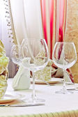 Serving wine glasses — Stock Photo