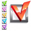 Set of 3d glossy checkmarks — Stock Photo