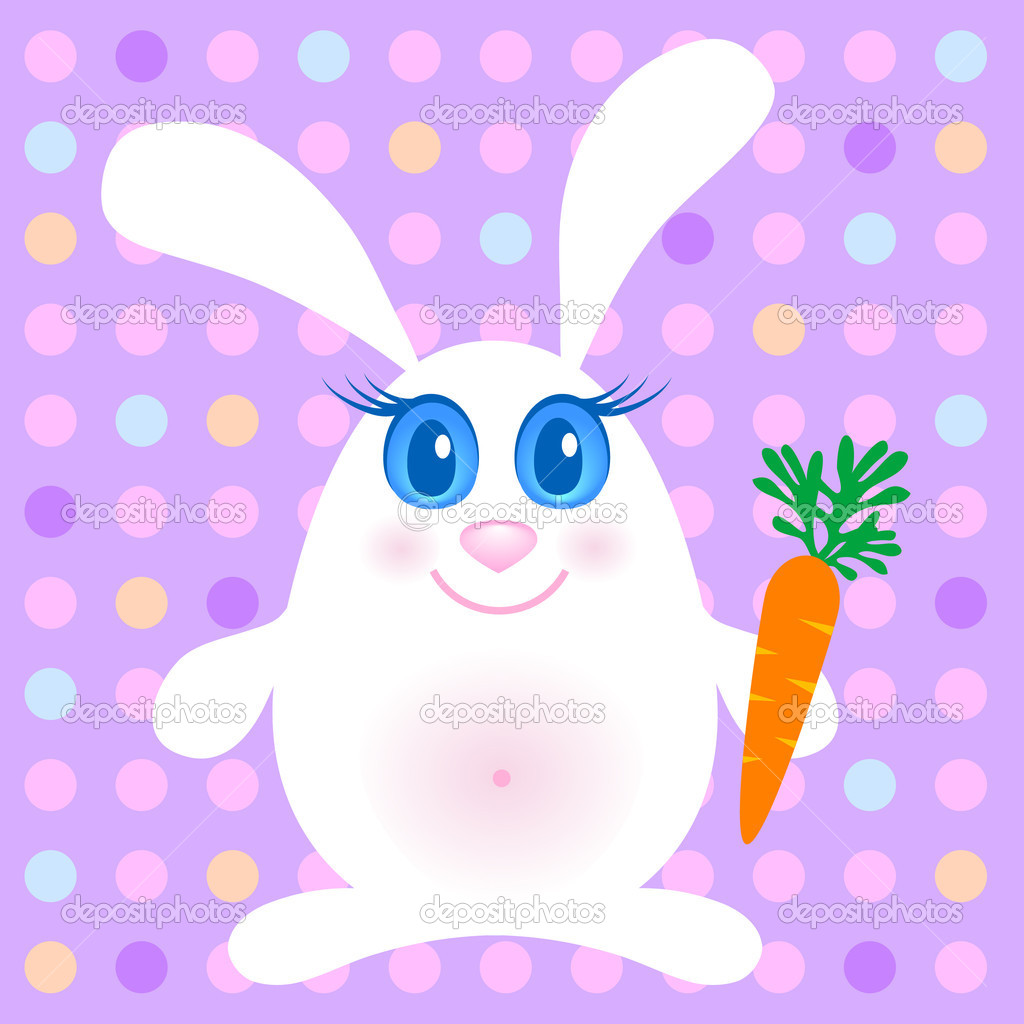 Cute rabbits with a carrot  Stock Photo #3166714