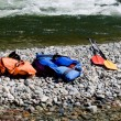 Two  life-jackets and two paddles - Foto Stock