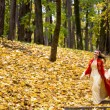 Stock Photo: Lady in autumn forest