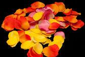 Orange, yellow and pink rose textile petals — Photo