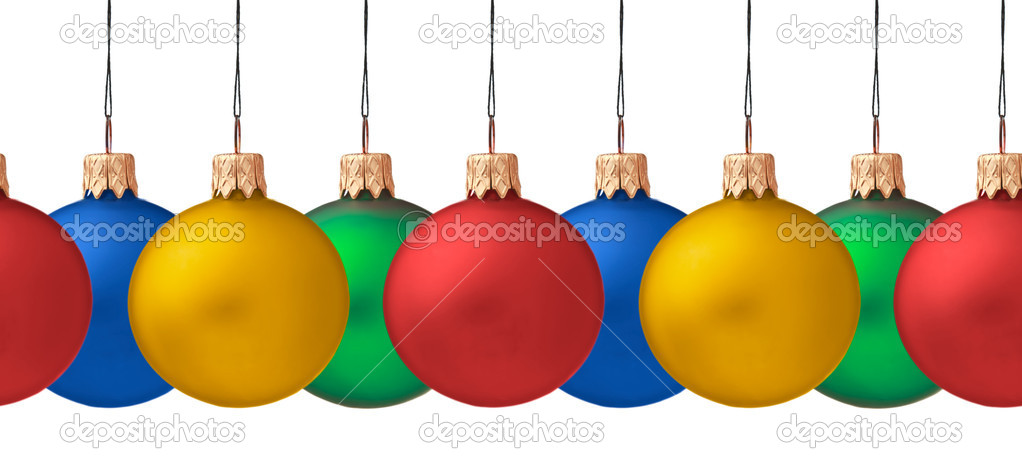 Row pf  hanging Christmas baubles isolated  on white background, seamless horizontally — Stock Photo #3757406