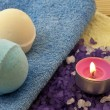 Stock Photo: Salt with candle and bath balls